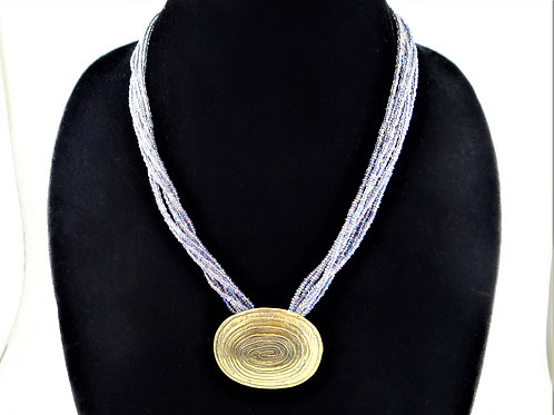 'Hypnosis' Etched Brass necklace