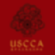 USCCA logo - black on red, gold text 400