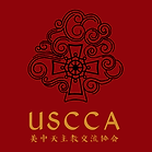 USCCA logo - black on red, gold text 160