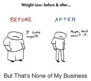 Cartoon of a person before and after weight loss.