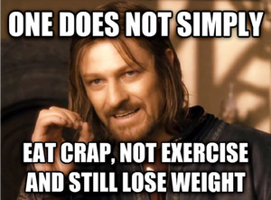 Meme about what is needed to lose weight.