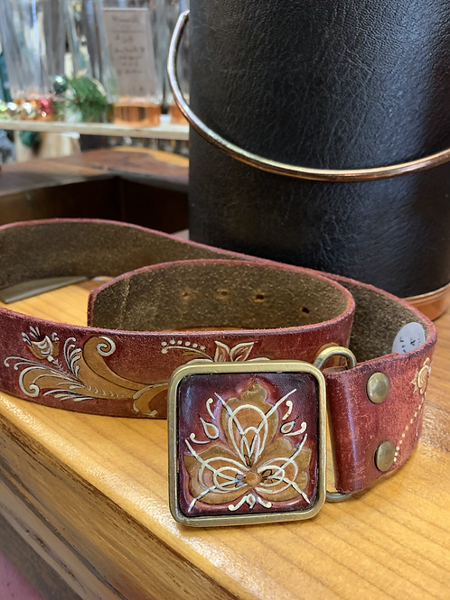 Vintage Tooled Leather Belt and Buckle