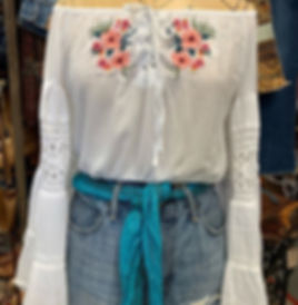 Redesigned peasant top with boho sleeves