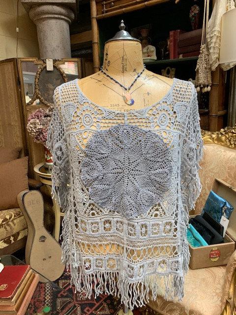 Pearl Gray Crochet Poncho
