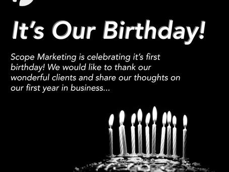 Happy 1st Birthday Scope Marketing!