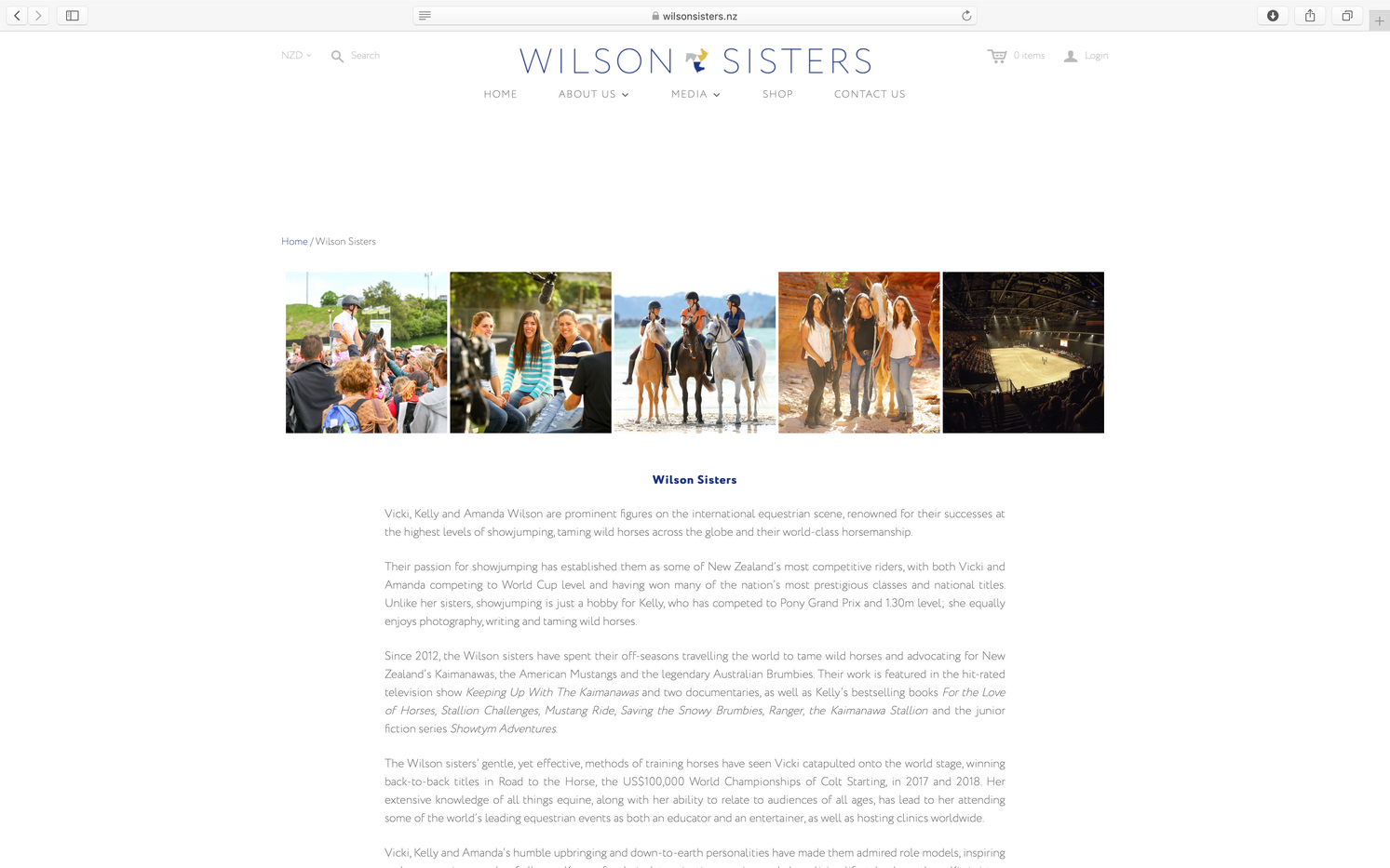 Written content for Wilson Sisters Website.