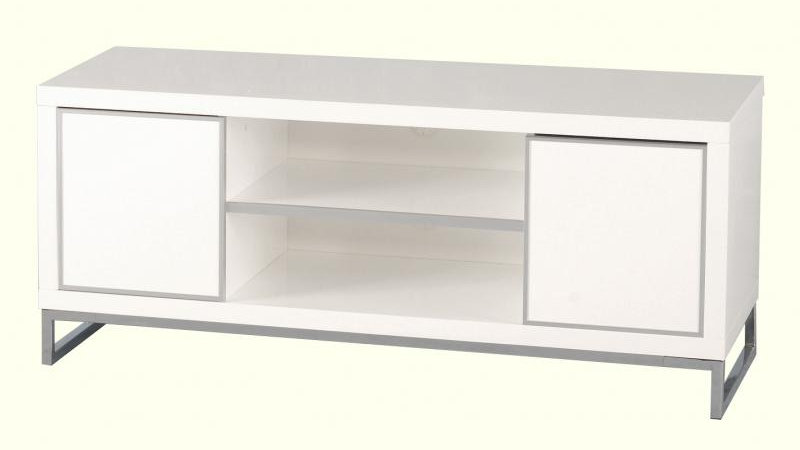 Charisma - 2 Door 1 Shelf TV Unit - (White-Gloss/Chrome)