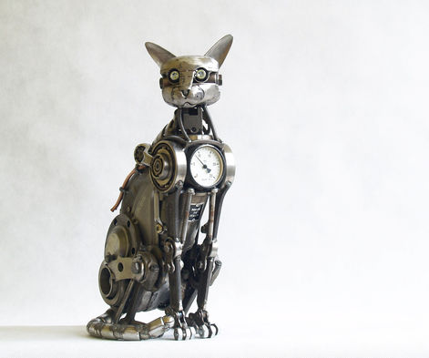 cat steampunk sculpture