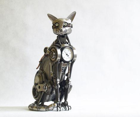 cat steampunk sculpture