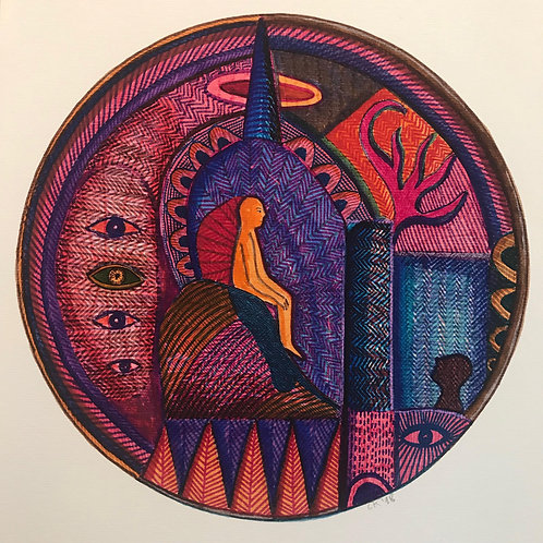 Round drawing. Felt pen on paper A3