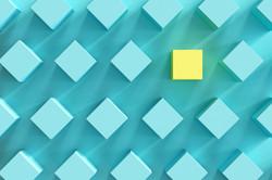 outstanding yellow box among blue boxes