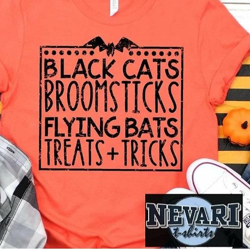 Black Cats Broomsticks Flying bats