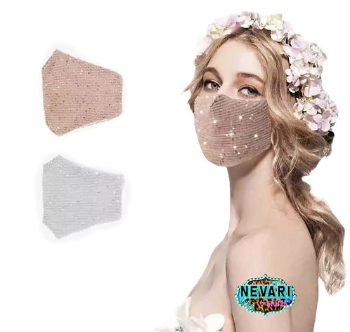 Sequin Fashion Mask - Pink/Peack, Light blue or White/Silver