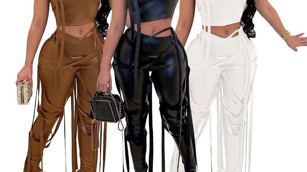 2 PC Shoulder Crop Top + Lace Up Slit Hem Pants