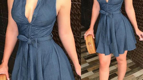 Sleeveless Denim Deep v Neck Dress