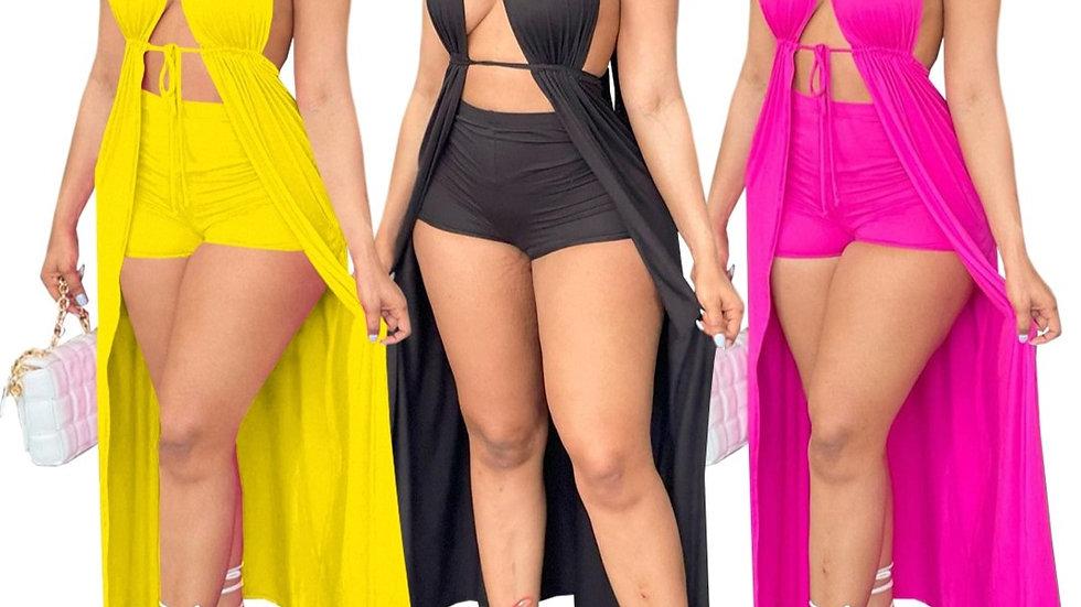 Sexy Summer 2PC Set Backless Maxi Dress w/Shorts