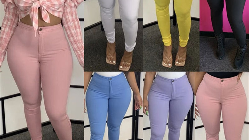 Size S-3xl Solid Stretchy Pencil Pants High Elasticity
