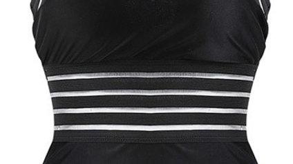 Bikini Striped Bandage Backless Swimsuit