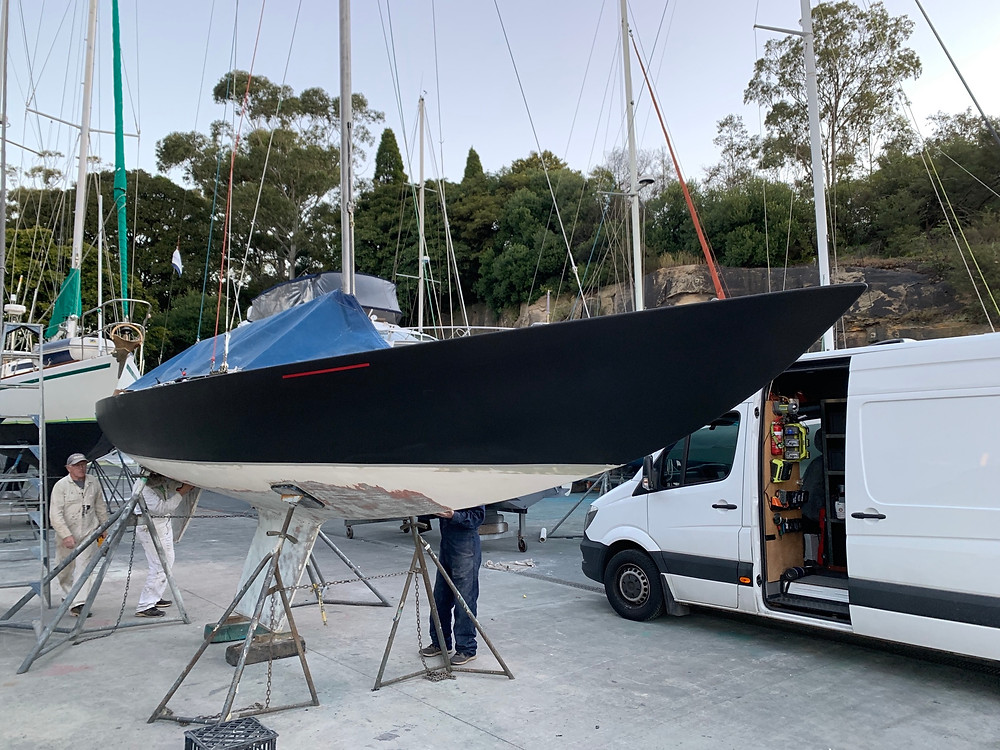 Vinyl wrap for The Etchells Yatch in carbon black