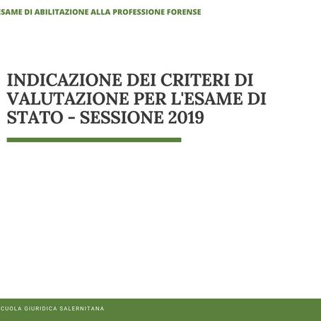 INDICAZIONE DEI CRITERI DI VALUTAZIONE PER LA PROVA ORALE - SESSIONE 2019
