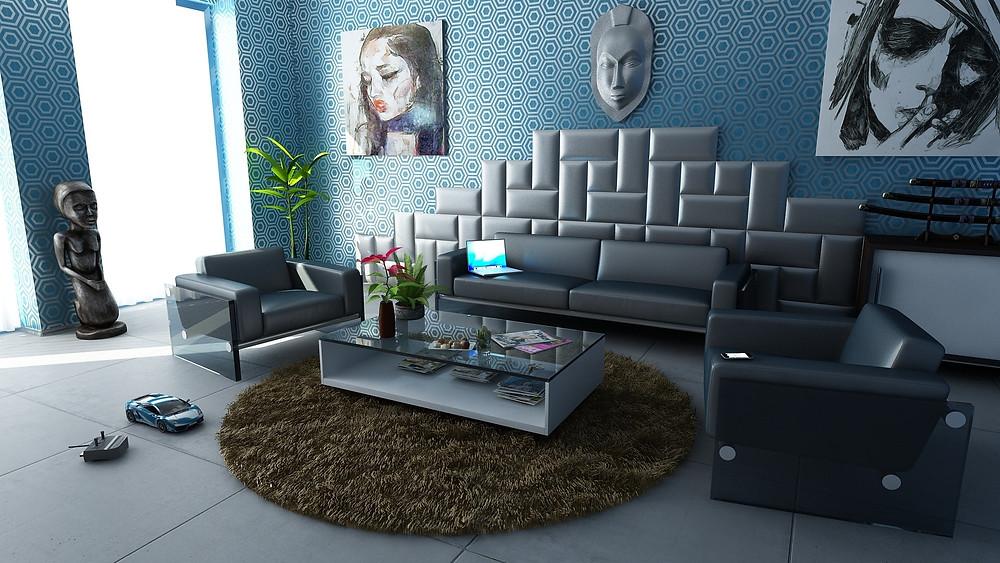 Pintura azul para casa MIC Multiservicios