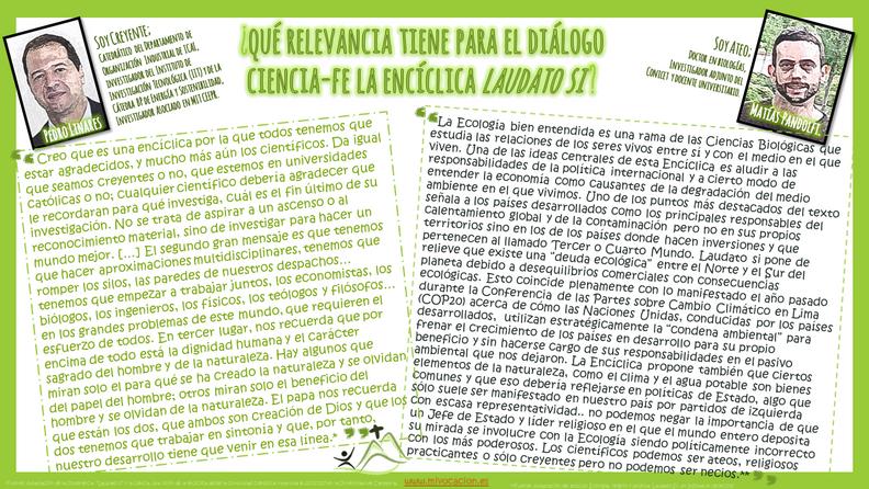 """¿Qué relevancia tiene para el #diálogo #ciencia-fe la encíclica """"#LaudatoSi""""🍁?"""