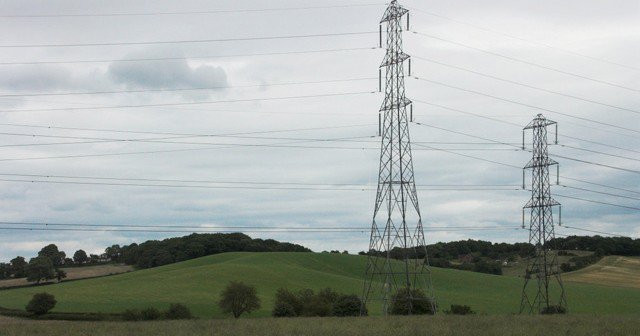 Image of power pylon built in field