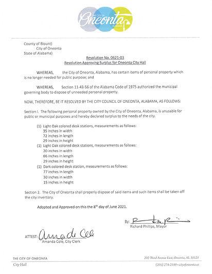 Resolution No. 0621-03 City Hall Surplus