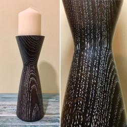 Limed Black Ola Pilar Candle Holder