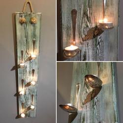 Salvaged timber & bent spoon tea light h