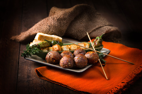 2. Spiced Meatballs with fried cottage c