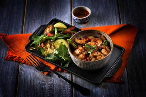 15. Prawns with hoisan Sauce & roasted v