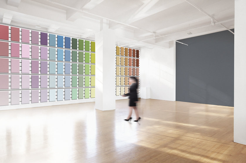 Color Palette of paint choices hanging on a wall.