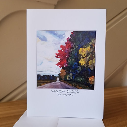 """7"""" x 5"""" Blank Greeting Card of 'Peek-A-Boo, I-See-You'"""