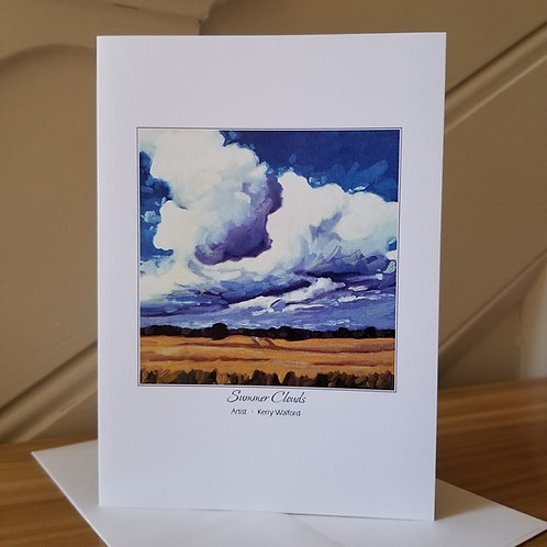 """7"""" x 5"""" Blank Greeting Card of 'Summer Clouds'"""