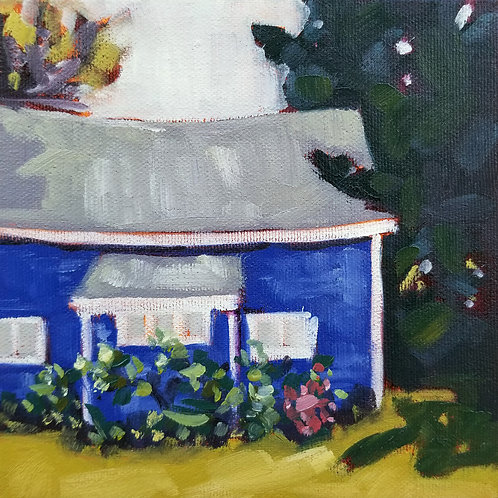 "Little Blue House | 6""h x 6""w 