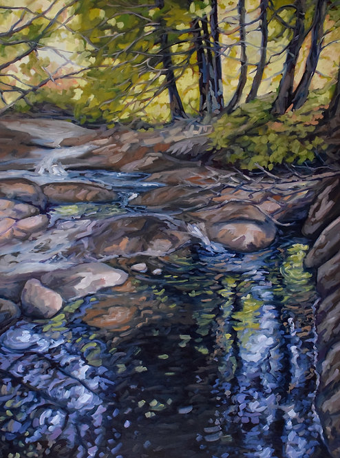 "Stream at King's Falls | 40""x30"" 