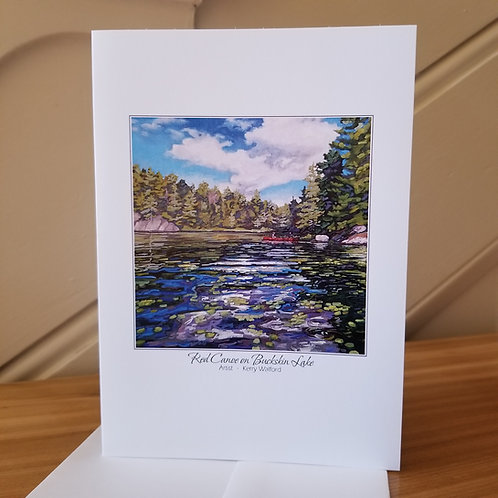 "7"" x 5"" Blank Greeting Card of 'Red Canoe'"