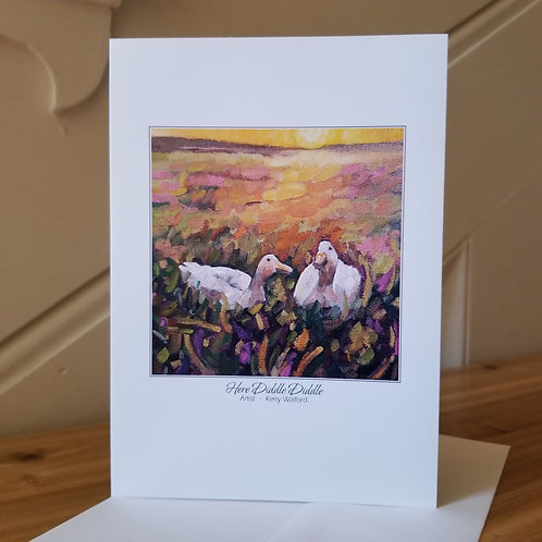 """7"""" x 5"""" Blank Greeting Card of 'Here Diddle Diddle'"""