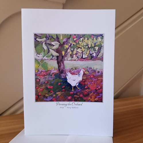 """7"""" x 5"""" Blank Greeting Card of 'Pursing The Orchard'"""