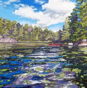 Red Canoe on Buckskin Lake