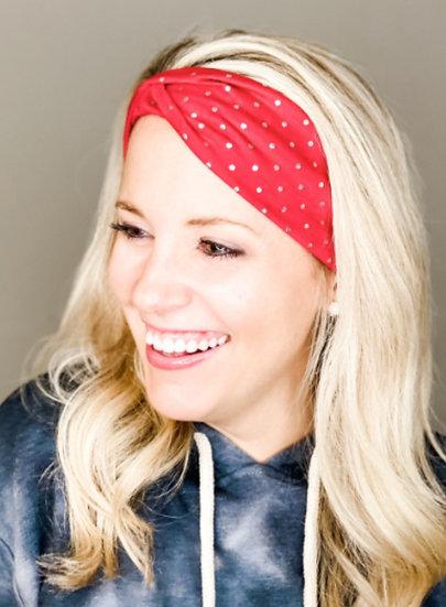 Red Foil Polka Dots Headband