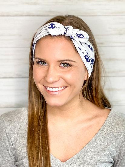 White and Navy Aztec Tie Cotton Headband