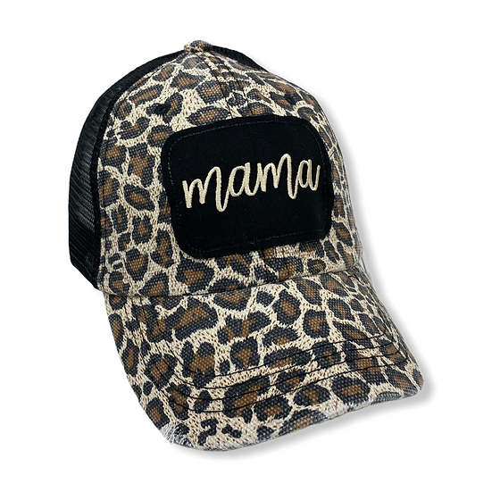 Mama Tan and Black  Animal Print Messy Bun Trucker Hat