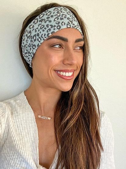Light Blue Waffle Knit Animal Print Headband