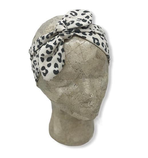 Tie Knit Small Cream Animal Print Headband