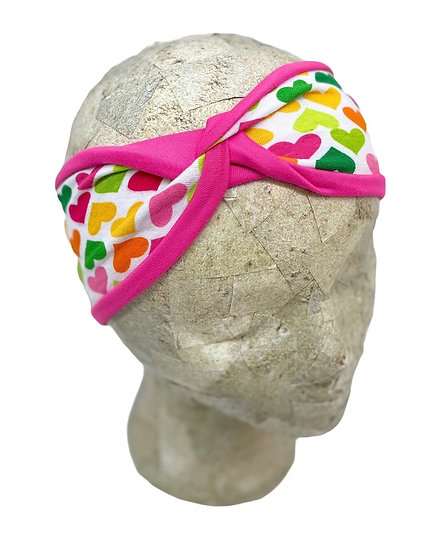 Two Toned Bright Pink and Colorful Hearts Headband