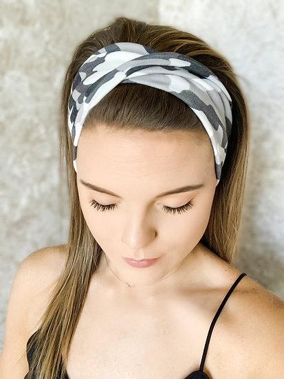 White and Grey Camo Headband