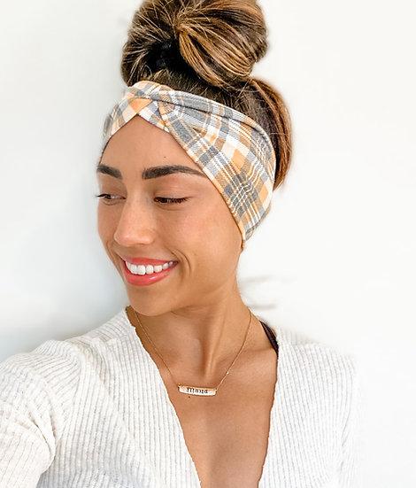 Yellow and Grey Plaid Headband