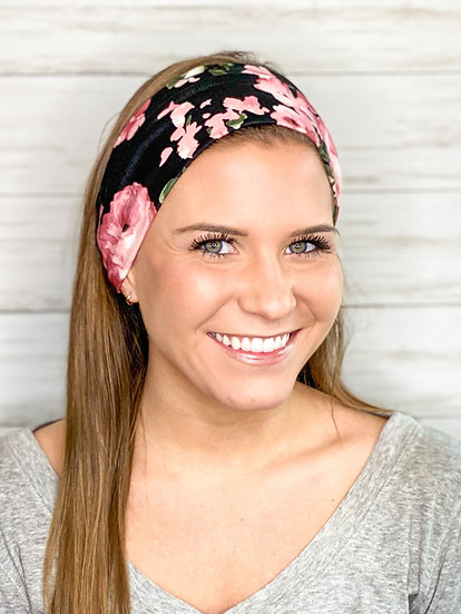 Black and Rose Floral Headband